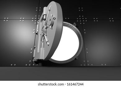 Digitally generated half opened grey metallic safe