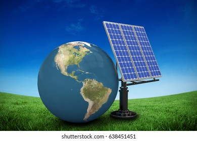 Digitally generated image of 3d globe and solar equipment against green field under blue sky