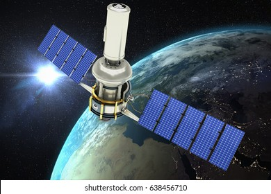 Digitally generated image of 3d modern solar satellite against aerial view of the earth