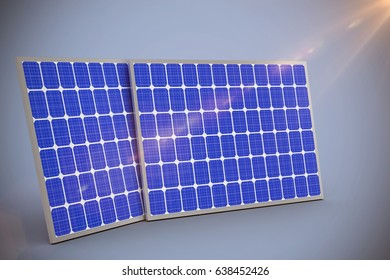 Digitally generated image of 3d solar equipment against grey background