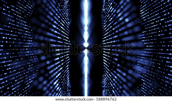 digitally generated image of blue light and stripes over black background