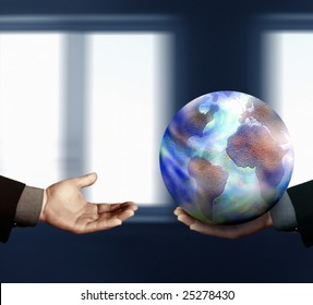 Digitally Generated Image of businessman holding a  globe