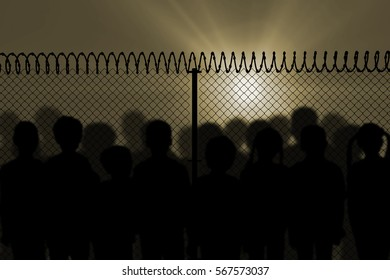 Digitally generated image of fence with spiral barbed wire against white background