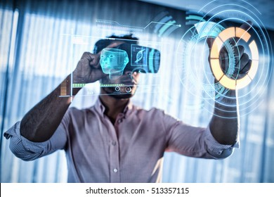 Digitally generated image of medical device interface against businessman using an oculus