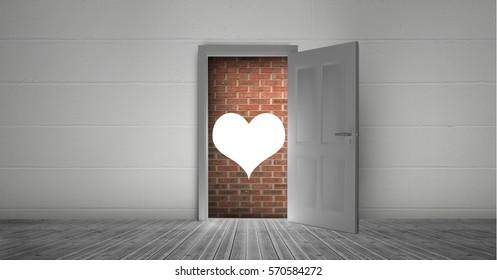 Digitally generated image of open door to brick wall and heart shape & Open Door Heart Images Stock Photos u0026 Vectors   Shutterstock