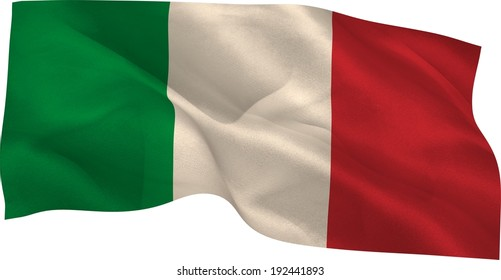Digitally generated italy national flag on white background