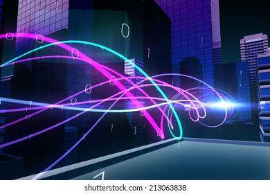 Digitally generated Purple light wave over skyscrapers