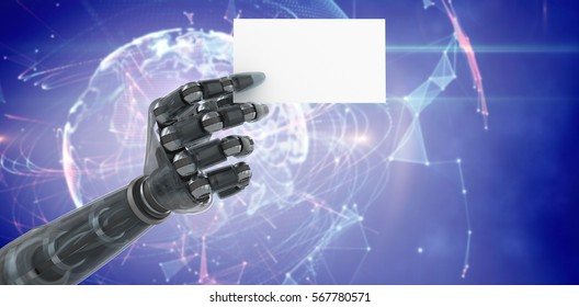 Digitally generated robotic arm holding blank placard against global technology background in blue 3d