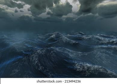 Digitally generated rough stormy ocean under dark sky