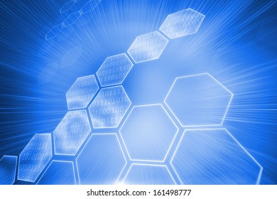 Digitally generated shiny hexagons on blue background