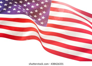 Digitally generated united states national flag on white background