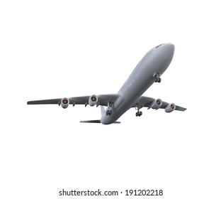 Digitally generated white graphic airplane on white background
