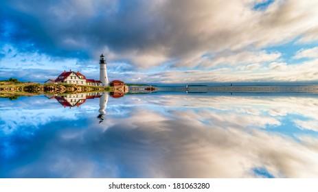Digitally manipulated image reflection of the Portland Head Lighthouse, Cape Elizabeth, Maine, USA