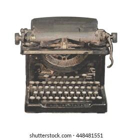 Digitally painted vintage typewriter on white backgroud
