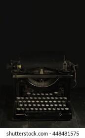 Digitally painted vintage typewriter on old tool bench