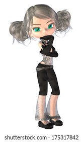 Digitally rendered image of a cute cartoon girl in modern outfit.