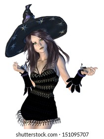 Digitally rendered image of a witch in black hat on white background.