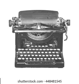 Digitally sketched and painted vintage typewriter in black and white