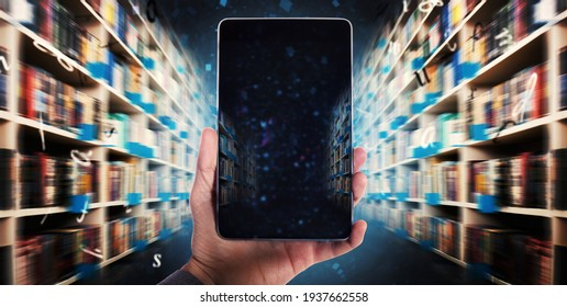 Digitization process from books to ebooks. from paper to digital in a laptop - Shutterstock ID 1937662558