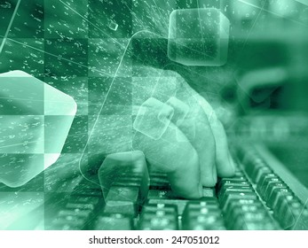 Digits and keyboard - abstract computer background in greens.