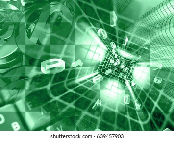 Digits and tunnel - abstract computer background in greens.