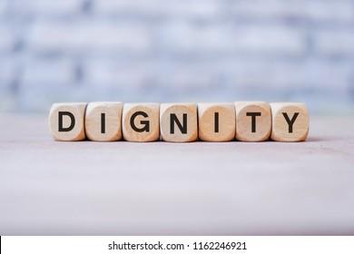 Dignity word written on wood block