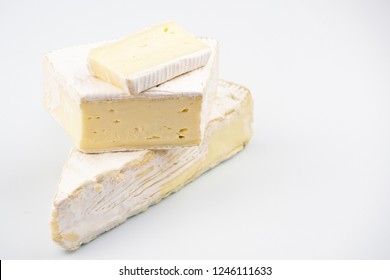 Dijon Brie on a white background close-up