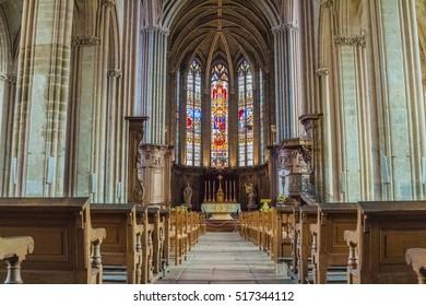 DIJON, BURGUNDY, FRANCE - SEPTEMBER 2015: Interior of church of Saint Michel. Altar.