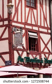 Dijon Cote-d'Or  Bourgogne-Franche-Comte France 26th July 2017 Red timber framed house on Place Francois Rude