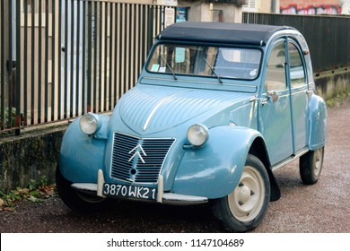 Dijon, France - 15.09.2017: Old Citroen car. May be CITROЛN 2CV 1955