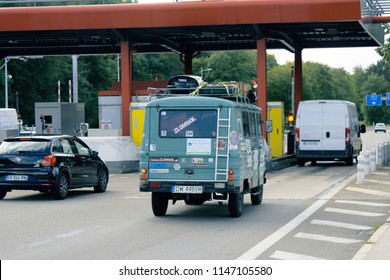 Dijon, France - 15.09.2017: Toll highway checkpoints, Old Polish minivan Beetle (Zuk) covered with different labels on the france highway - lightweight delivery car, 50s of the 20th century.