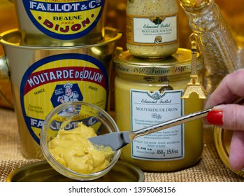 Dijon / France- Sept. 3 2017: Mustard Tasting With Local French Mustard Producers