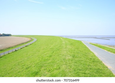 Dike on the North Sea coast in Lower Saxony, Germany