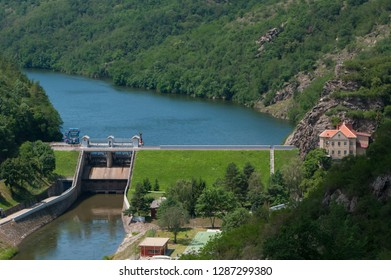 A dike on the river named Dyje near the town of Znojmo. South Moravia, Czech Republic.