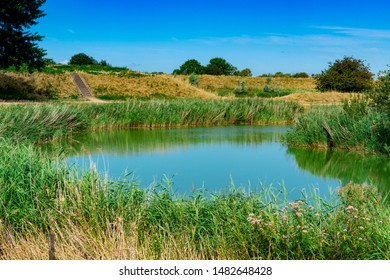 Dike, stairs, hiking path, water in Veere. The Netherlands