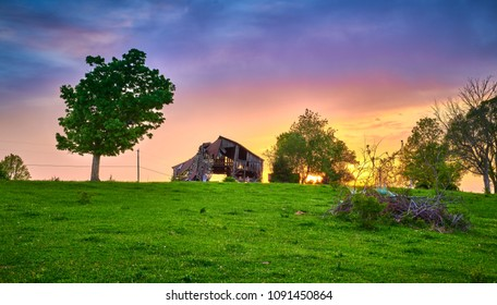 Dilapidate Barn with Sunset