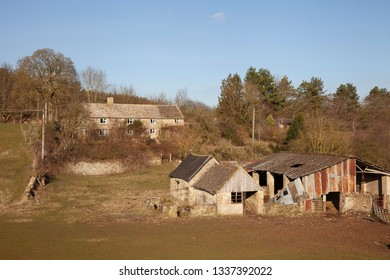 Dilapidated barns, Cotswolds, Gloucestershire, England