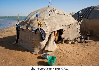 Dilapidated Bedouin village near Timbuktu, Mali, Africa.