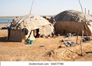 Dilapidated Bedouin village near Timbuktu, Mali (Africa).