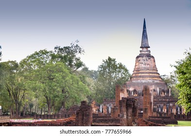 dilapidated of construction of Si Satchanalai Historical Park Sukhothai Thailand,old town of Thailand