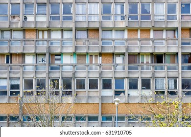 Dilapidated council flat housing block in East London
