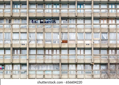 Dilapidated council flat housing block, Robin Hood Gardens, in East London