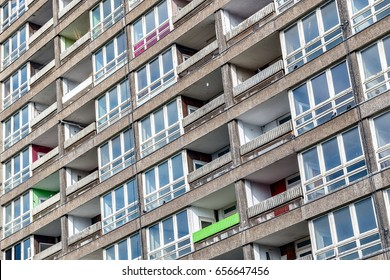 Dilapidated council flat housing block, Balfron Tower, in East London