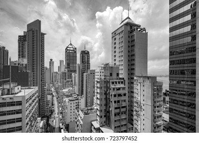 Dilapidated and densely populated residential, Hong Kong, China.