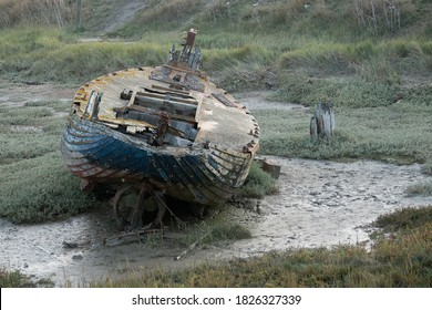 Dilapidated fishing boat at Rye Harbour, East Sussex