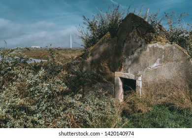 Dilapidated grey stone roof part of a desolate building with a window hole overgrown with grass everywhere, with peeling plaster, multiple cracks, stones, and bricks in the faults