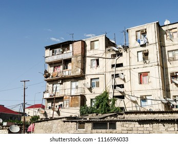 Dilapidated houses with the poor population, migrants. Without repair