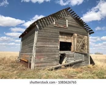 Dilapidated old wooden grain bin in Saskatchewan