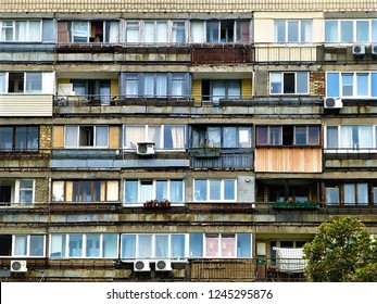 A dilapidated post-communist block of flats in Kyiv, Ukraine