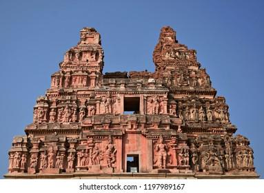 ''Dilapidated superstructure of the eastern tower of Vitthala temple, Hampi, Karnataka''